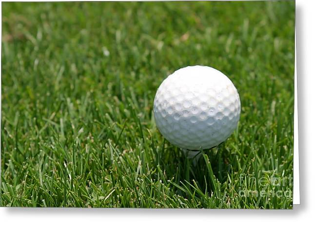 Golfcourse Greeting Cards - Golf Ball Greeting Card by Henrik Lehnerer
