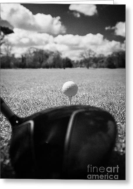 Recently Sold -  - Concept Photographs Greeting Cards - Golf Ball On The Tee With Driver Greeting Card by Joe Fox