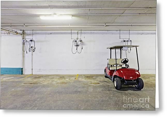 Basement Greeting Cards - Golf Cart Parking Garage Greeting Card by Skip Nall