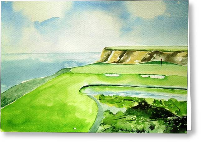Strategy Paintings Greeting Cards - Golf Strategy Greeting Card by Geeta Biswas