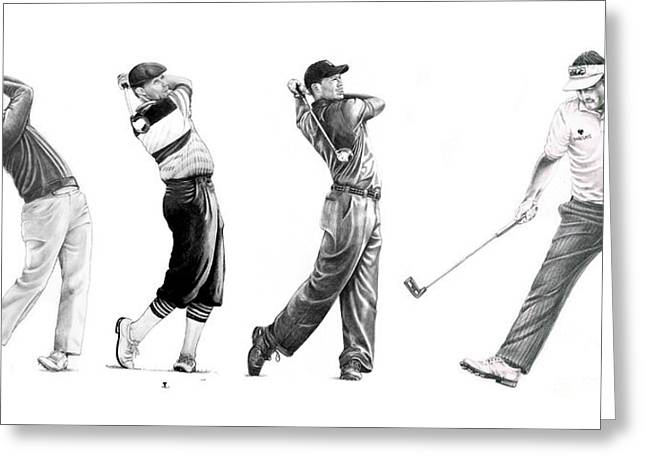 Nicklaus Drawings Greeting Cards - Golfers Greeting Card by Murphy Elliott