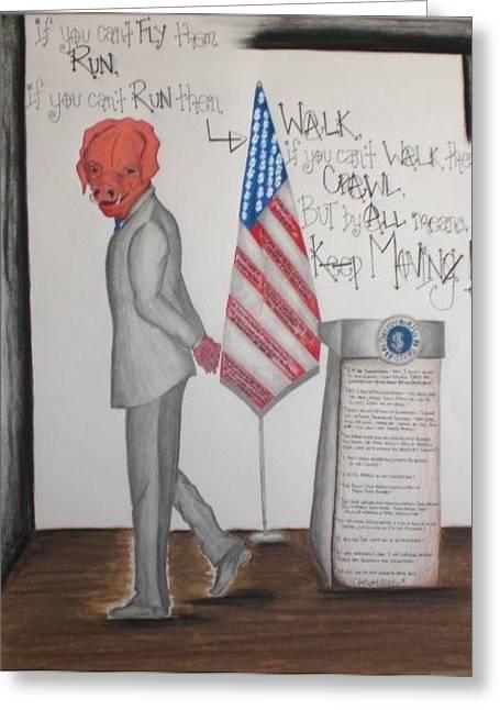 American Politician Mixed Media Greeting Cards - Goodbye Greedy Pigs Goodbye Greeting Card by Heather Polgar