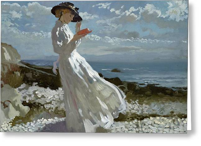 White Dress Paintings Greeting Cards - Grace reading at Howth Bay Greeting Card by Sir William Orpen