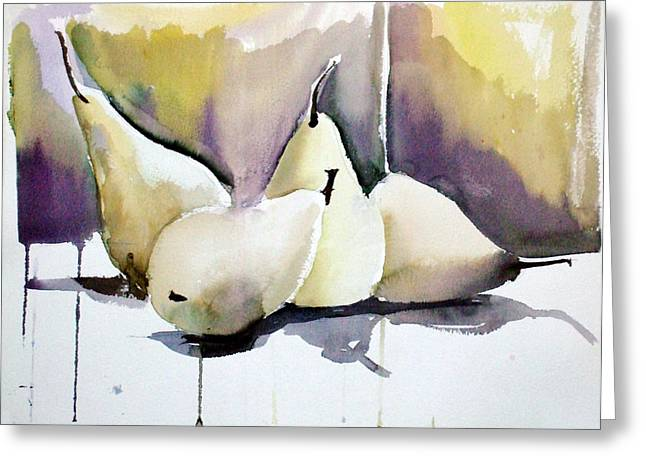 Snack Drawings Greeting Cards - Graceful Pears Greeting Card by Mindy Newman