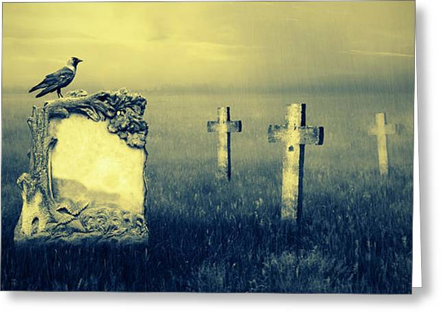 Gothic Cross Greeting Cards - Gravestones in moonlight Greeting Card by Jaroslaw Grudzinski