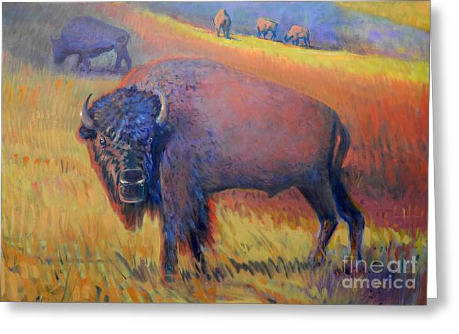 Tatanka Greeting Cards - Grazing Greeting Card by Donald Maier