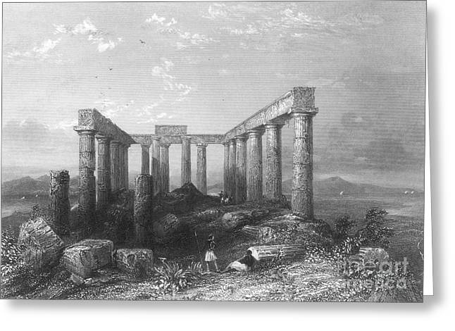Temple Of Athena Greeting Cards - Greece: Temple Ruins Greeting Card by Granger