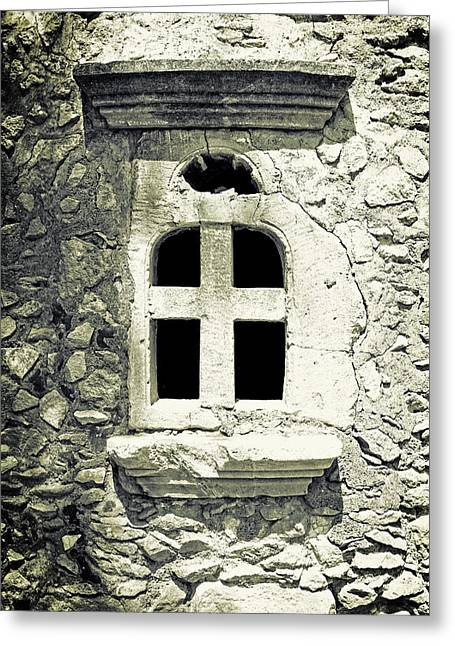 Window Panes Greeting Cards - Greek Chapel Greeting Card by Joana Kruse