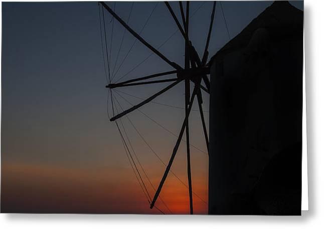 greek windmill Greeting Card by Joana Kruse