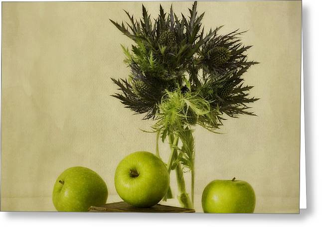 Fruits Photographs Greeting Cards - Green Apples And Blue Thistles Greeting Card by Priska Wettstein