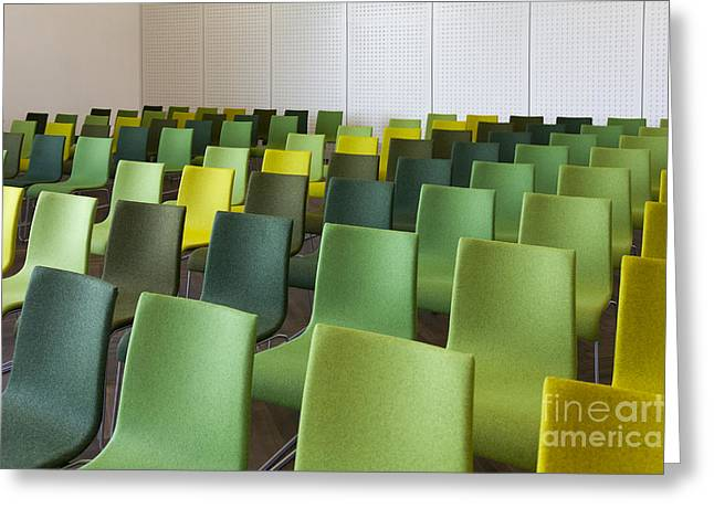 """""""meeting Room"""" Greeting Cards - Green Chairs in a Presentation Room Greeting Card by Jaak Nilson"""