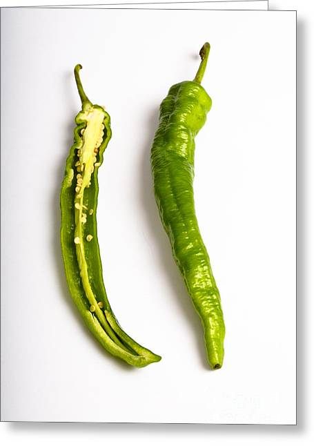 Cut In Half Greeting Cards - Green Chili Pepper Greeting Card by Photo Researchers, Inc.