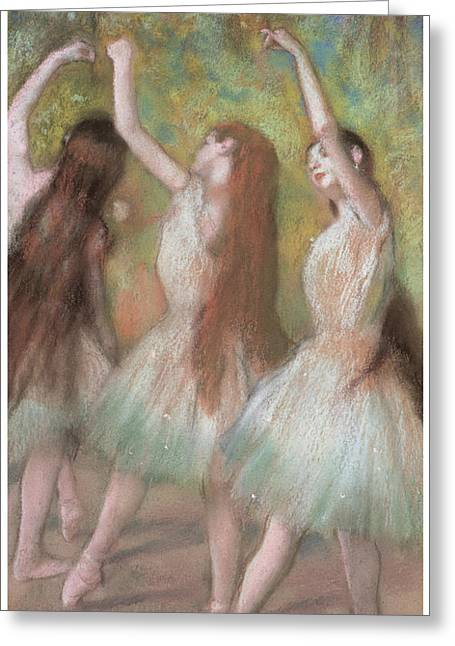 Ballet Dancers Pastels Greeting Cards - Green Dancers Greeting Card by Edgar Degas