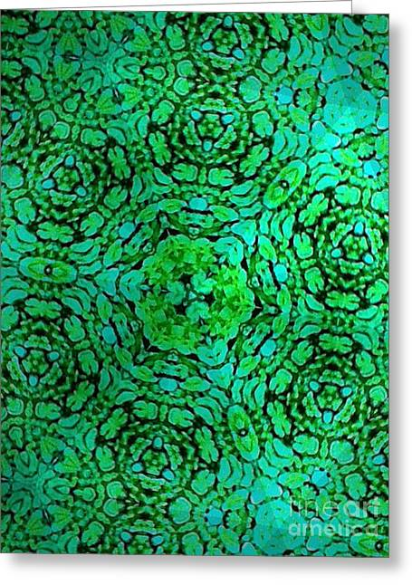 Geometric Effect Tapestries - Textiles Greeting Cards - Green Moss Greeting Card by Erik Stoneburner