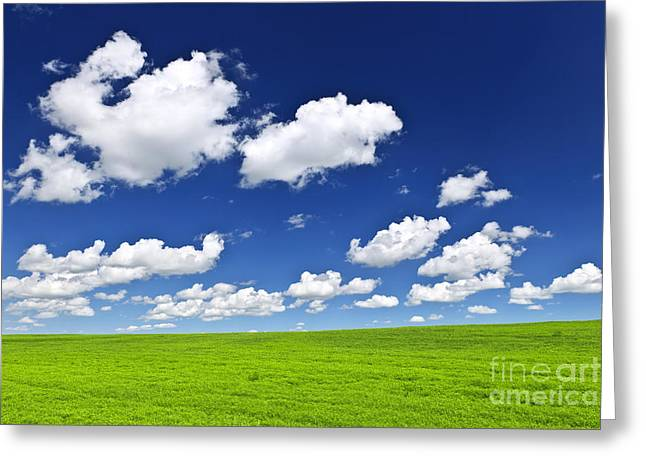 Nature. Clouds Greeting Cards - Green rolling hills under blue sky Greeting Card by Elena Elisseeva