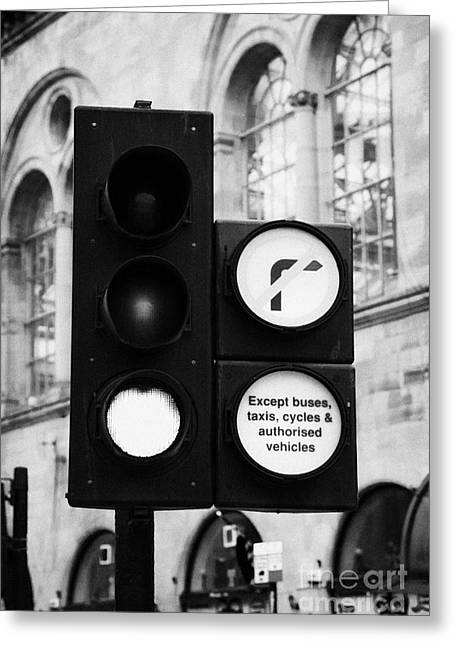 Except Greeting Cards - Green Traffic Light Signal With No Right Turn Except Buses Taxis Cycles And Authorised Vehicles Glas Greeting Card by Joe Fox