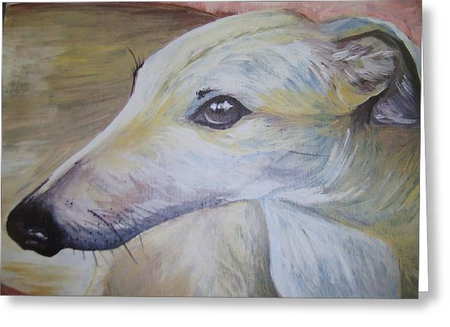 Greyhound Greeting Card by Leslie Manley