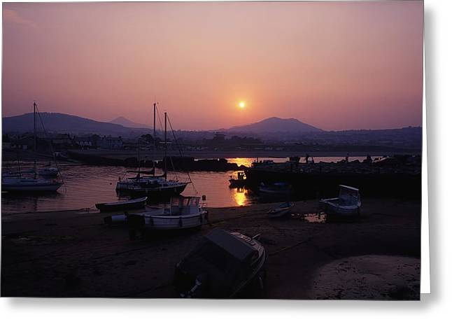 Boats In Harbor Greeting Cards - Greystones, Co Wicklow, Ireland Greeting Card by The Irish Image Collection