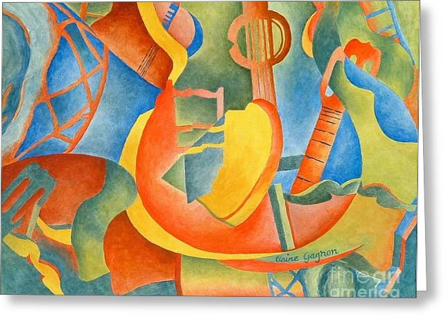 Guitare Greeting Cards - Grosse Guitare Greeting Card by Claire Gagnon