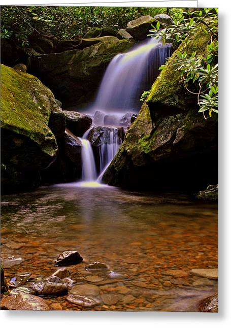 Colossal Greeting Cards - Grotto Falls Greeting Card by Frozen in Time Fine Art Photography