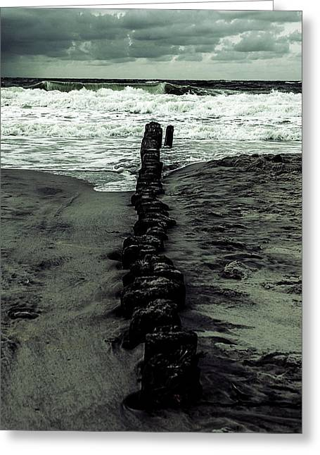 German Ocean Greeting Cards - Groyne Greeting Card by Joana Kruse
