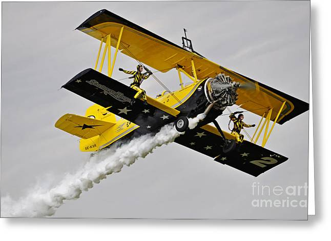 Power Pyrography Greeting Cards - Grumman AG 164 Wingwalker Greeting Card by Conny Sjostrom