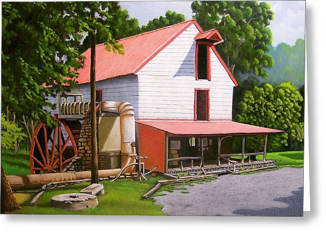Old Mill Scenes Paintings Greeting Cards - Guilford Mill Greeting Card by Larry Hoskins