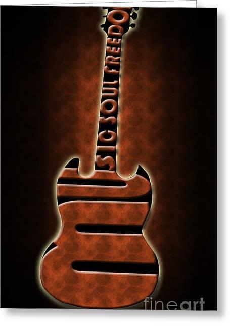 Intruments Greeting Cards - Guitar in brown Greeting Card by Lj Lambert