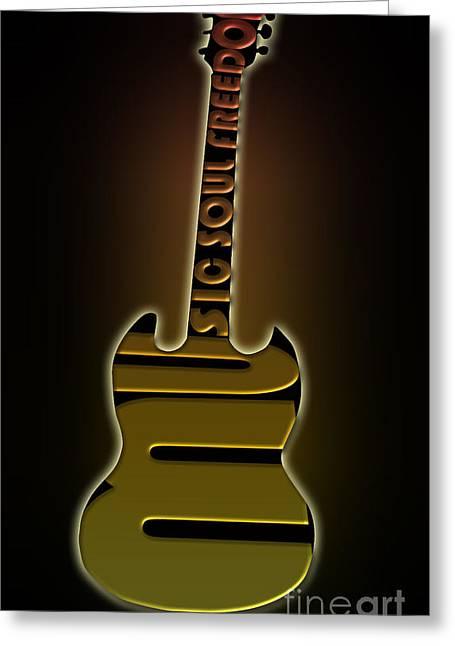 Intruments Greeting Cards - Guitar in yellow Greeting Card by Lj Lambert