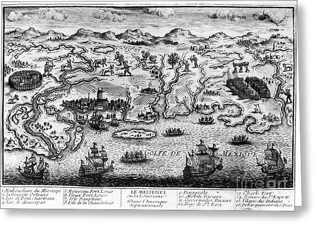 Delta Town Greeting Cards - GULF COAST, c1720 Greeting Card by Granger