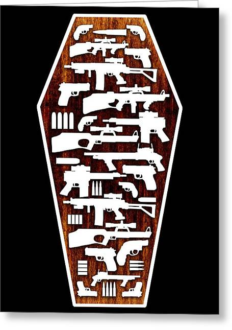 Coffin Greeting Cards - Gun Crime, Conceptual Artwork Greeting Card by Stephen Wood