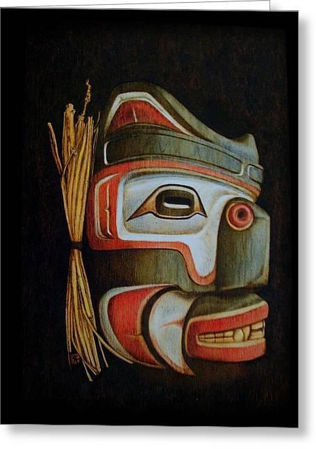 Firsts Pyrography Greeting Cards - Haida Mask Greeting Card by Cynthia Adams