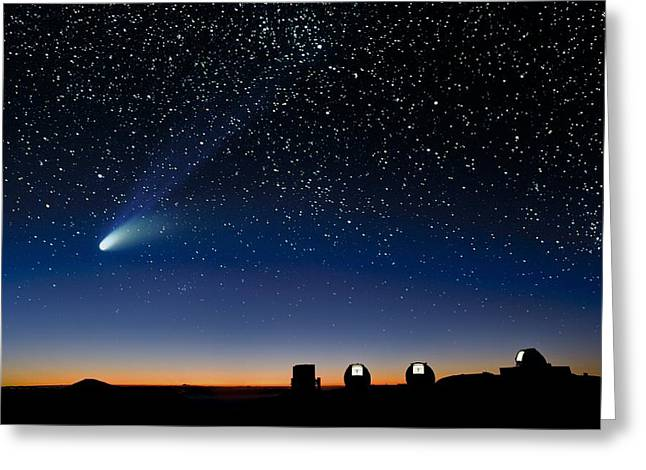 Hale-bopp Comet Greeting Cards - Hale Bopp And Observatories, Hawaii Greeting Card by David Nunuk
