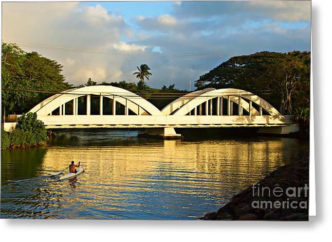 Canoe Greeting Cards - Haleiwa Bridge Greeting Card by Paul Topp