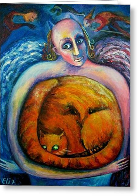 Halloween Cat Greeting Card by Elisheva Nesis