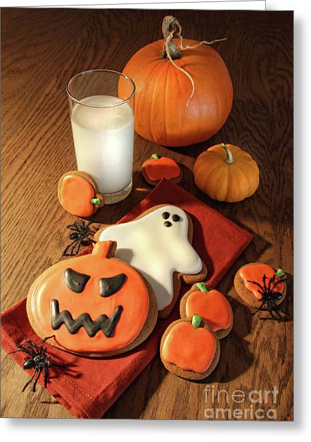 Baked Greeting Cards - Halloween cookies with a glass of milk Greeting Card by Sandra Cunningham