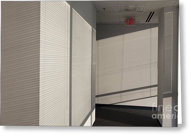 Research Triangle Park Greeting Cards - Hallway of an Office Building Greeting Card by Will & Deni McIntyre