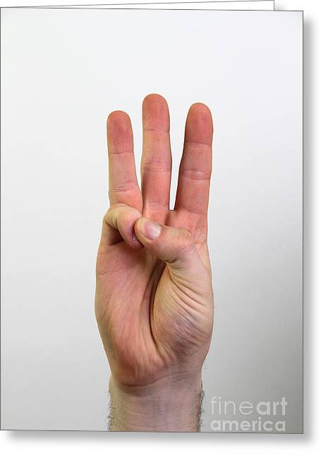 American Sign Language Greeting Cards - Hand Signing Number Six Greeting Card by Photo Researchers, Inc.