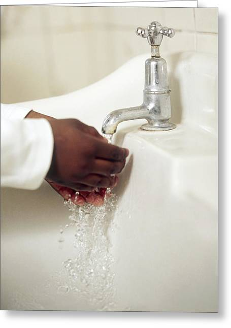 Clean Water Greeting Cards - Hand Washing Greeting Card by Ian Boddy