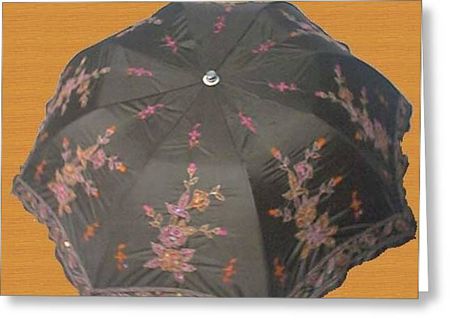 Gift Tapestries - Textiles Greeting Cards - Hand Work Umbrella Greeting Card by Manisha Jain