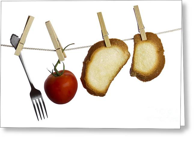 Sliced Bread Greeting Cards - Hanging food Greeting Card by Blink Images