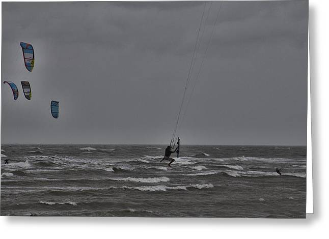 Kitesurfer Greeting Cards - Hanging On  Greeting Card by Douglas Barnard