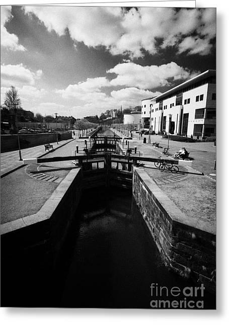 Lock Down Greeting Cards - Hannas lock on the lagan canal locks restored as part of the lagan valley island conference lisburn Greeting Card by Joe Fox