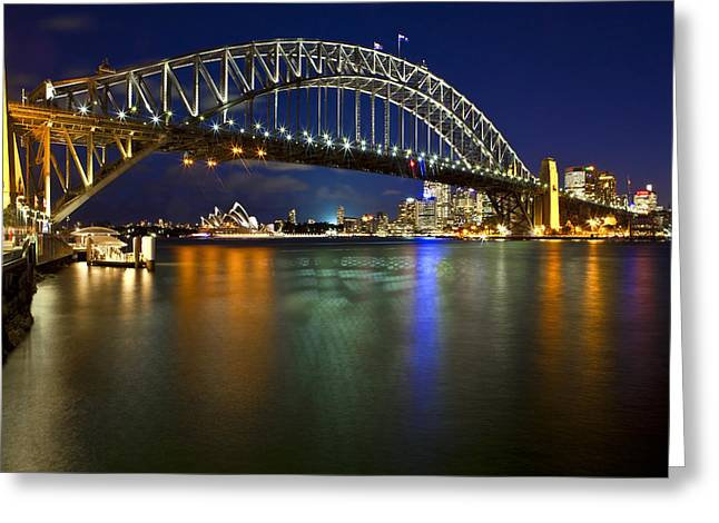 Harbour Lights Greeting Card by Renee Doyle