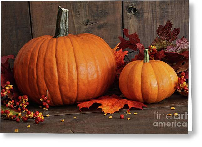 Various Greeting Cards - Harvested pumpkins on wood table  Greeting Card by Sandra Cunningham