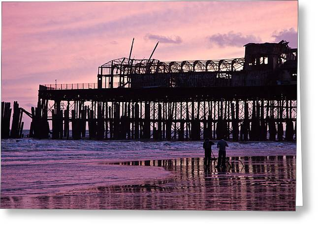 Hastings Pier After The Fire Greeting Card by Dawn OConnor