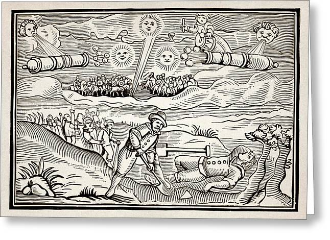 Afternoon Battle Greeting Cards - Hatford Meteor Fall, 1628 Greeting Card by Detlev Van Ravenswaay