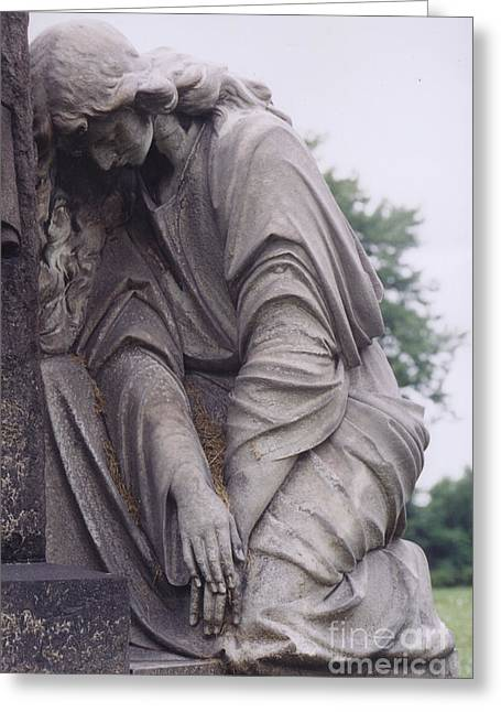 Eerie Greeting Cards - Haunting Cemetery Female Mourner On Grave Greeting Card by Kathy Fornal