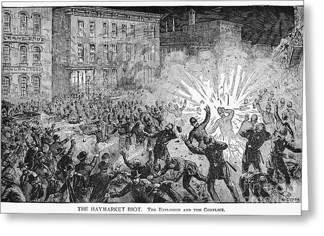 Terrorist Greeting Cards - Haymarket Riot, 1886 Greeting Card by Granger