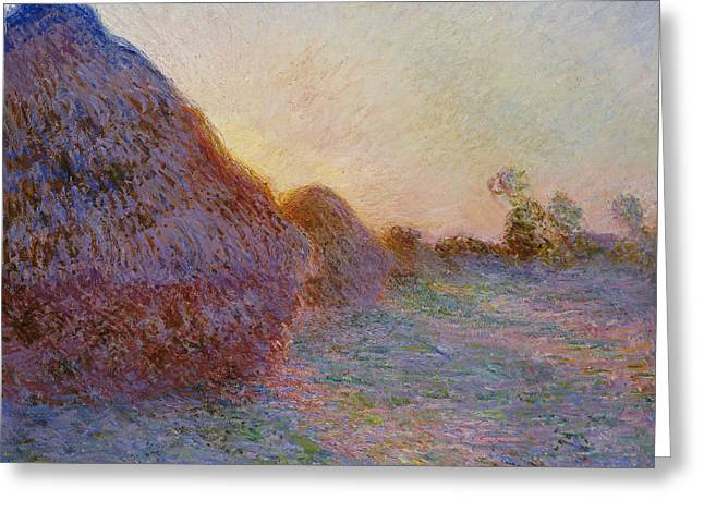 Impressionism Greeting Cards - Haystacks Greeting Card by Claude Monet
